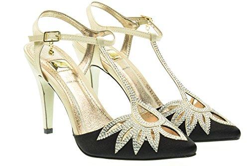 O6 MILANO donna sandali con i tacchi SA0317 CHAMPAGNE-NERO 40 Champ-Nero