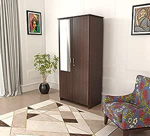 BLUEWUD Andrie Engineered Wood Wardrobe Brown , 2 Doors