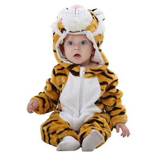 GWELL Kinder Baby Tier Kostüme Tieroutfit Cosplay Jumpsuit Schlafanzug Mädchen Jungen Winter Nachtwäsche Strampler Tiger Körpergröße (Kuscheliger Tiger Baby Kostüm)