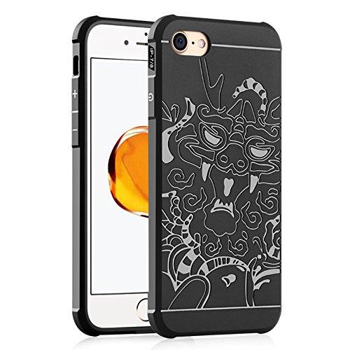 UKDANDANWEI iPhone 7 / 8 Coque,Tpu Silicone Gel Étui Housse Protection Shell Case Cover Pour iPhone 7 / 8 - Gris Dragon noir