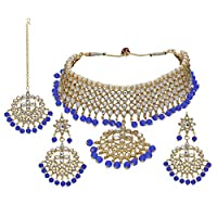 I Jewels Valentine's Special Traditional Kundan & Pearl Choker Necklace Set For Women (K7058Bl)