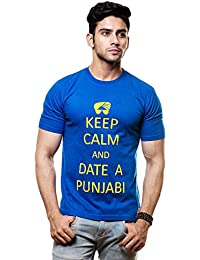 Enquotism Cotton Keep Calm and Date a Punjabi Round Neck T Shirt