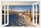 Artland Qualitätsbilder I Wandtattoo Wandsticker Wandaufkleber 130 x 90 cm Landschaften Strand Foto Creme C3JO Weg Nordseestrand Sonnenuntergang