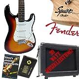 Fender set chitarra elettrica Bullet Strat SUNBURST, con amplificatore 30 W, libro «Sonny