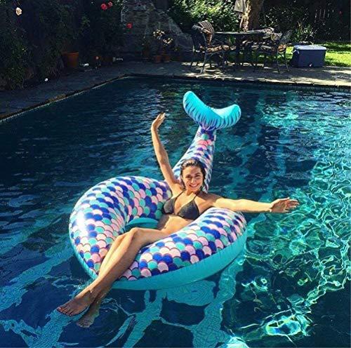 erjungfrau Schwanz Schwimmring Pool Float Aufblasbare Wasserschwimmring Pool Float Spielzeug Schwimmen Schwimm Sommer Party Strand für Kinder & Erwachsene,Blue ()