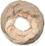 styleBREAKER warmer Feinstrick Loop Schal mit Flecht Muster und sehr weichem Fleece Innenfutter, Schlauchschal, Unisex 01018150, Farbe:Hellbraun