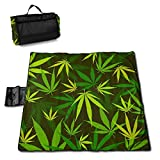 Weed Plant Leaf Green And Yellow Portable Large Picnic Blanket 57'x59' Outdoor Waterproof Sand-Proof Machine Washable Beach/Camping/Picnic Blanket Mat Tote Bag for Family Hiking Travelling
