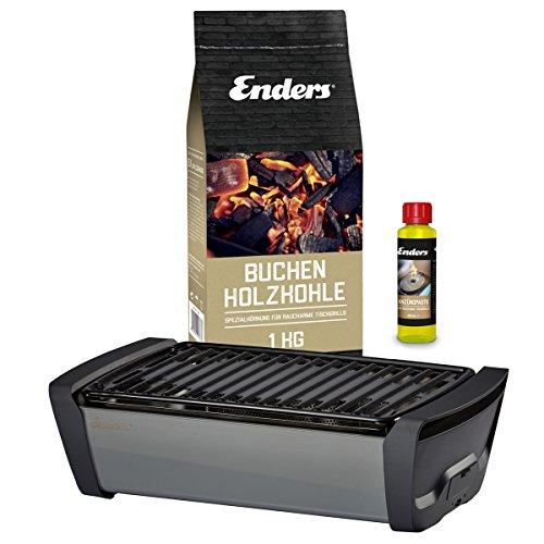 Enders Aurora - Tischgrill Starter-Set, Raucharmer Outdoor Grilltisch mit Holzkohle und Anzündpaste, Mobiler Holzkohle Grill, rauchfrei, für Picknick, Camping und Balkon, Grillzubehör - Deutsche Marke