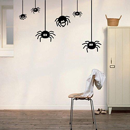 t wasserdichtes glückliches Halloween-Haus-Haushalt-Raum 57cm * 26cm Spinnen-Wand-Aufkleber-Wand-Dekor-Abziehbild entfernbares neues (Schwarz) (Halloween Sprüche Oder Zitate Für Karten)