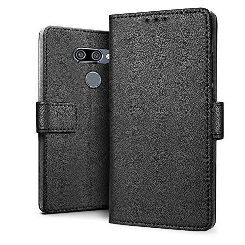 HDRUN Hülle Kompatibel für LG K50 Hülle - Premium PU Leder Flip Tasche Case mit Kartensteckplätzen & Ständerfunktion Schutzhülle Handyhüllen für LG K50, Schwarz