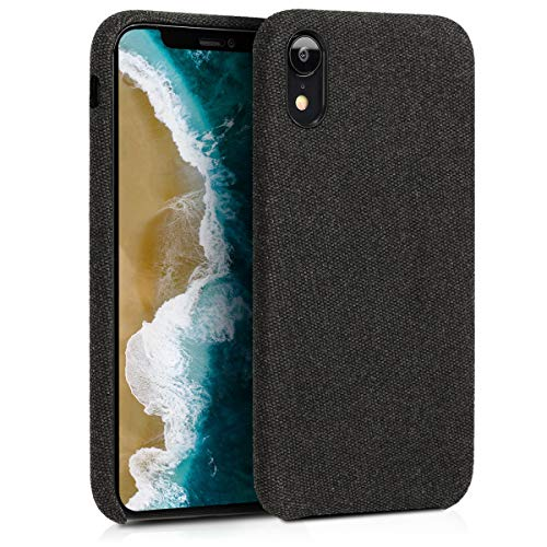 kwmobile Hülle für Apple iPhone XR - Case Handy Schutzhülle Stoff - Backcover Cover Canvas Design Schwarz