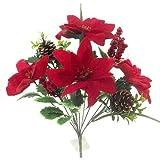 43,2cm (42cm) Künstliche Rot Samt Weihnachtsstern Bush mit großen Beeren und Zapfen 15,2cm Blütenköpfe