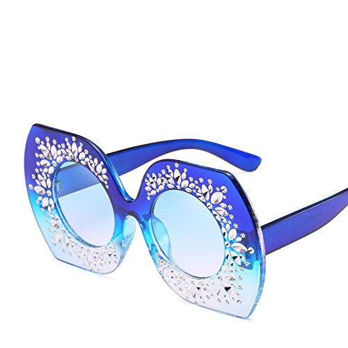 Aoligei Persönlichkeit-Europa und die Vereinigten Staaten großen Rahmen Sonnenbrillen Mode Zeigen Farbe gerahmte Damen Sonnenbrille IR Normale Gläser