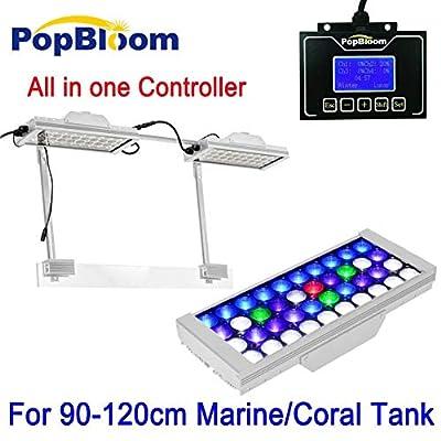 Aquarium Light 90-120cm PopBloom Aqua LED Aquarium Light Éclairage à Spectre Complet Récif Corail Réservoir SPS LPS Lever du Soleil Coucher du Soleil MJ3SP2 Lampes de réservoir de Poisson