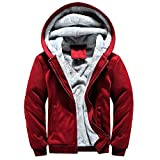MRULIC Herren Hoodie Pullover Winter Warme Fleece Jacke Zipper Sweater Jacke Outwear Mantel RH-054 (EU-44/CN-L, Y3-Rot)