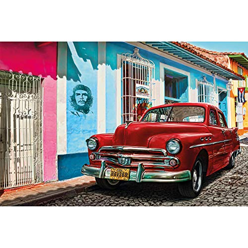 GREAT ART XXL Poster - Oldtimer in Havanna Wanddekoration - Auto Wandbild Kuba Artwork Illustration roter Chevrolet Wohnzimmer Kunst Motiv (140 x 100 cm)