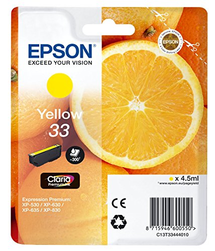 33 Farb-tintenpatrone (Epson T3344 Tinte, Orange, Claria Premium, Text- und Hochglanzfotodruck (Singlepack) gelb)