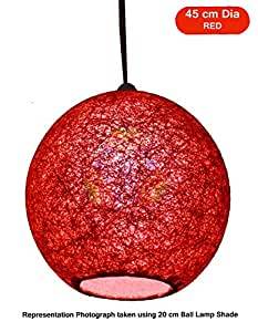 Salebrations 45 cm Dia Red Hanging Ball Lamp Shade With Yarn And Led Bulb