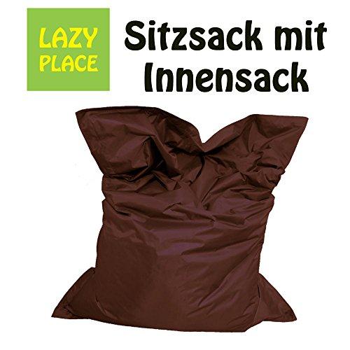 XXL Sitzsack Outdoor und Indoor, Lazy Place, abwaschbar, wasserfest, mit Innensack (braun)