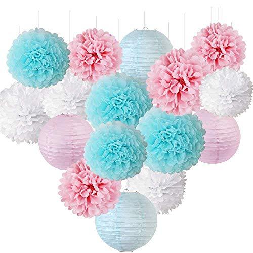 Erosion Geschlecht offenbaren Party Dekorationen Baby Shower Dekorationen Baby blau rosa Seidenpapier Pom Pom Blumen Papierlaternen
