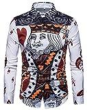 WHATLEES Herren Langarm Druckmuster Hemd - Dress Shirt mit Stehkragen und Luxus Barock Stil König Poker B702-27-S
