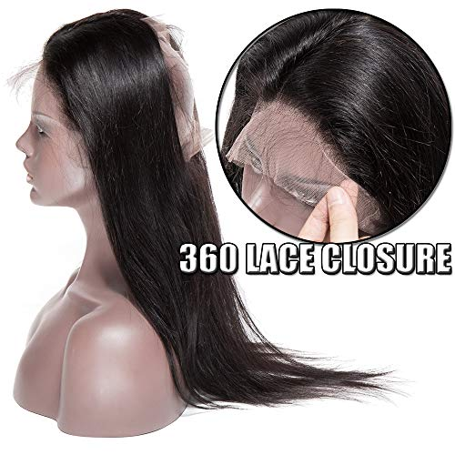 360 Lace Frontal Closure with Baby Hair Natural Hairline 100% Braziliaanse Hair Glatt Remy Echthaar Naturschwarz Straight 18