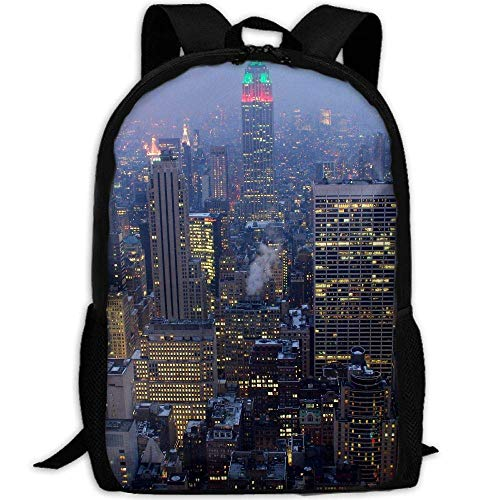 shuangshao liu New York City Night Unisex Adult Custom Rucksack,School Leisure Sports Book Bags,Durable Oxford Outdoor College Laptop Computer Shoulder Bags,Lightweight Travel Tagesrucksäcke