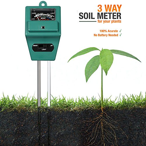 ZEDELA 3-in-1 Bodentester, digitales Bodenmessgerät für Pflanzen, Boden-pH und Feuchte, Lichtstärke Meter Pflanze Tester für Gartenbau, Pflanzen Wachstum, Rasenpflege (keine Batterie erforderlich)