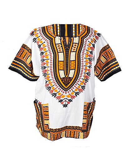 Lofbaz Unisex Dashiki Bohemian Africana Camicia Hippy Bianco e Arancione Taglia XS