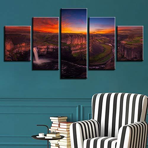 mmwin Dekor Schlafzimmer Wandkunst HD Druck Bilder Arbeiten 5 Stücke Wasserfall Sonnenuntergang Naturlandschaft Leinwand Modulare Poster