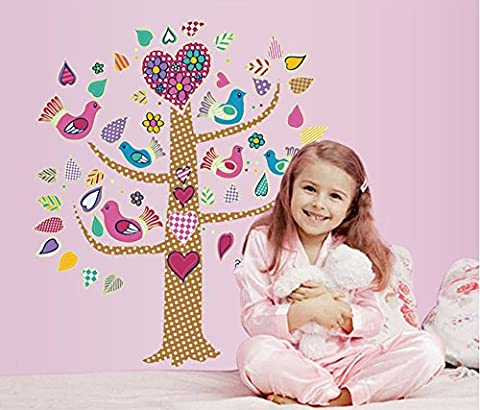 ufengke® Clip Art Colorful Flowers and Birds Tree Wall Decals Fluorescence Stickers Glow In The (Albero Clipart)