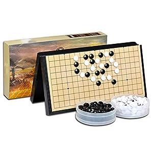 Dfghbn-YXWJ Go Game Set Go Board Set – Praktische, magnetische, Konvexe Einzelsteine - Reisebereit for Kinder und…