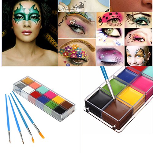 luckyfine-facebody-paint-oil-painting-12color-art-makeup-set-halloween-party-fancy-dress-4-x-brushes