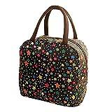 HWTOP Handtaschen Lunchpaket Thermal Insulated Tote Picknick Kühltasche Kühlbox Lunchbox Bag Stofftasche (Schwarz)