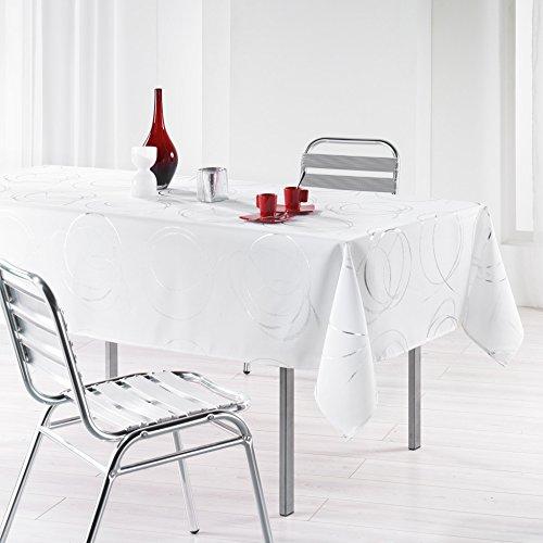 L'harmonie du décor  - 1721576, tovaglia rettangolare , 150 x 240 cm , bully , poliestere stampato argento , bianco