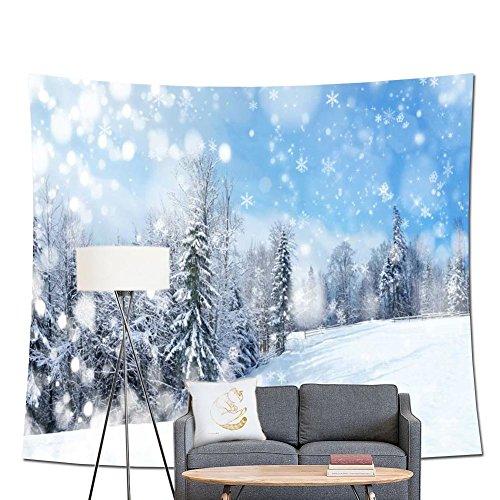 stdruck Wandteppich, Christmas village Snowy Outdoor Baum mit Dekoration Glocken Geschenk Print Winter Forest Bild Print Party Wand Hintergrund 71