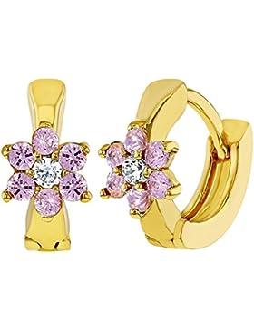 In Season Jewelry Kleinkind Mädchen - Creolen Ohrringe Kleine Blume 18k Vergoldet Rosa Kristall