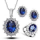 Conjunto de pendientes y collares y anillos, así como un colgante de zafiro azul mujer