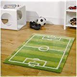 Rugs With Flair Kiddy Play Campo de Fútbol Verde Kids – Alfombra (70 cm x 100 cm.