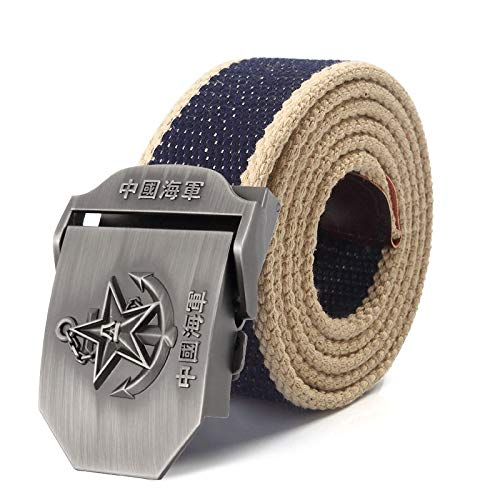 ZHYAODAI Canvas Strap 3D Alloy Star Buckle Belt Tactical Military Army Straps for Men Belt Blue Blue Beige, Edge, 100Cm.