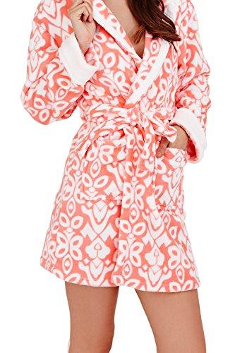 Loungeable, Damen Luxus-vlies Super Weich Freizeit Nachtwäsche Robe, Mehrere Muster, Styles Coral Hooded