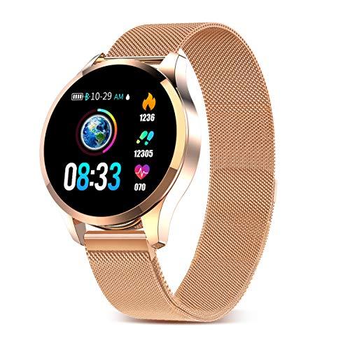 GOKOO Montre Connectée Femme Homme Smartwatch Sport Étanche Montre Intelligente Multifonction Bracelet Connecté Podomètre Cardiofréquencemètre Caméra à Distance Compatible avec iOS Android (d'or)