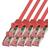 BIGtec - 10 Stück - 0,25m Netzwerkkabel Patchkabel Ethernet LAN DSL Patch Kabel Gigabit rot (2X RJ-45 Anschluß, CAT6, doppelt geschirmt) 0,25 Meter