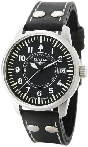 Elysée Women's Automatic Movement Watch with Black Leather Strap - 71010
