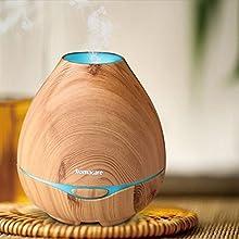 Difusor de Aromas, Aromacare Humidificador Aromaterapia Ultrasónico Difusor de Aceites Esenciales Luces LED con La Función Apagado Automático para Su Hogar y Oficina