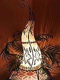 Orientalische Stehlampe Almina Natur 71cm Lederlampe Hennalampe Lampe | Marokkanische Große Stehlampen aus Metall, Lampenschirm aus Leder | Orientalische Dekoration aus Marokko, Farbe Natur