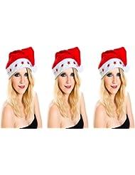3 er Set Weihnachtsmütze Nikolausmütze 5 Sterne Led Blink Licht Rot Mütze Toll Leuchtend X29
