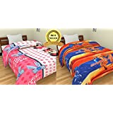 TRUSTFUL Mickey Mouse & Spider Man Cartoon Kids  Design Prints Single Bed Reversible AC Blanket | Dohar | Quilt | Comforter | Duvet (Combo Set Of 2, Cotton)