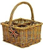 east2eden Handled Honey Wicker 4 Compartment Condiment Basket (Single Basket)