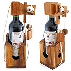 Goods & Gadgets Dont Break The Bottle Flaschen-Tresor Safe Geduldsspiel Puzzle aus Holz